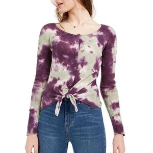 NEW Tie Dyed Thermal Knit Knot Blouse S / M